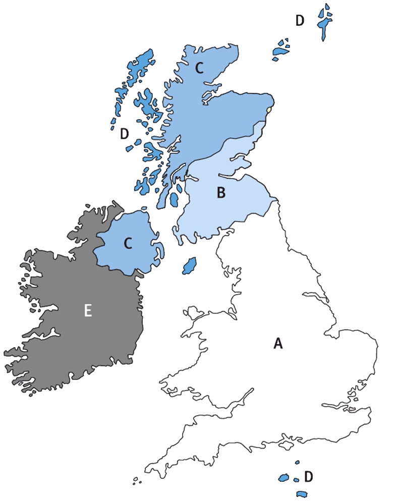 UK Post Zone Map